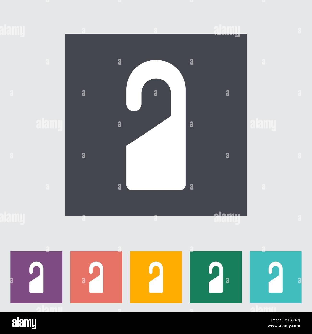 Door tag. Single flat icon. Vector illustration. - Stock Image