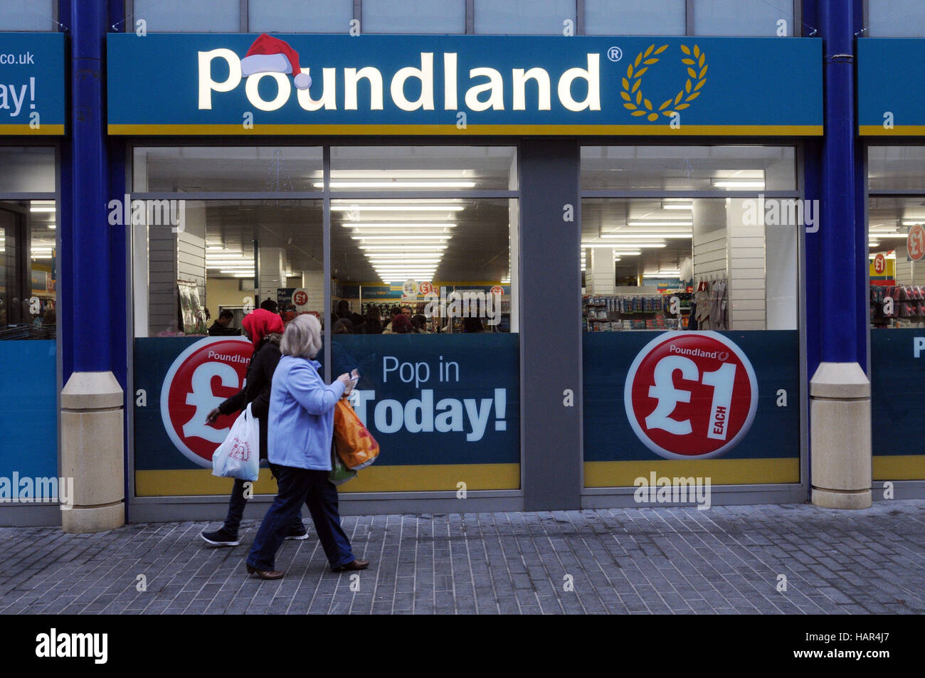 General view of a Poundland store in Birmingham city centre as the company have pleaded guilty to breaching food - Stock Image