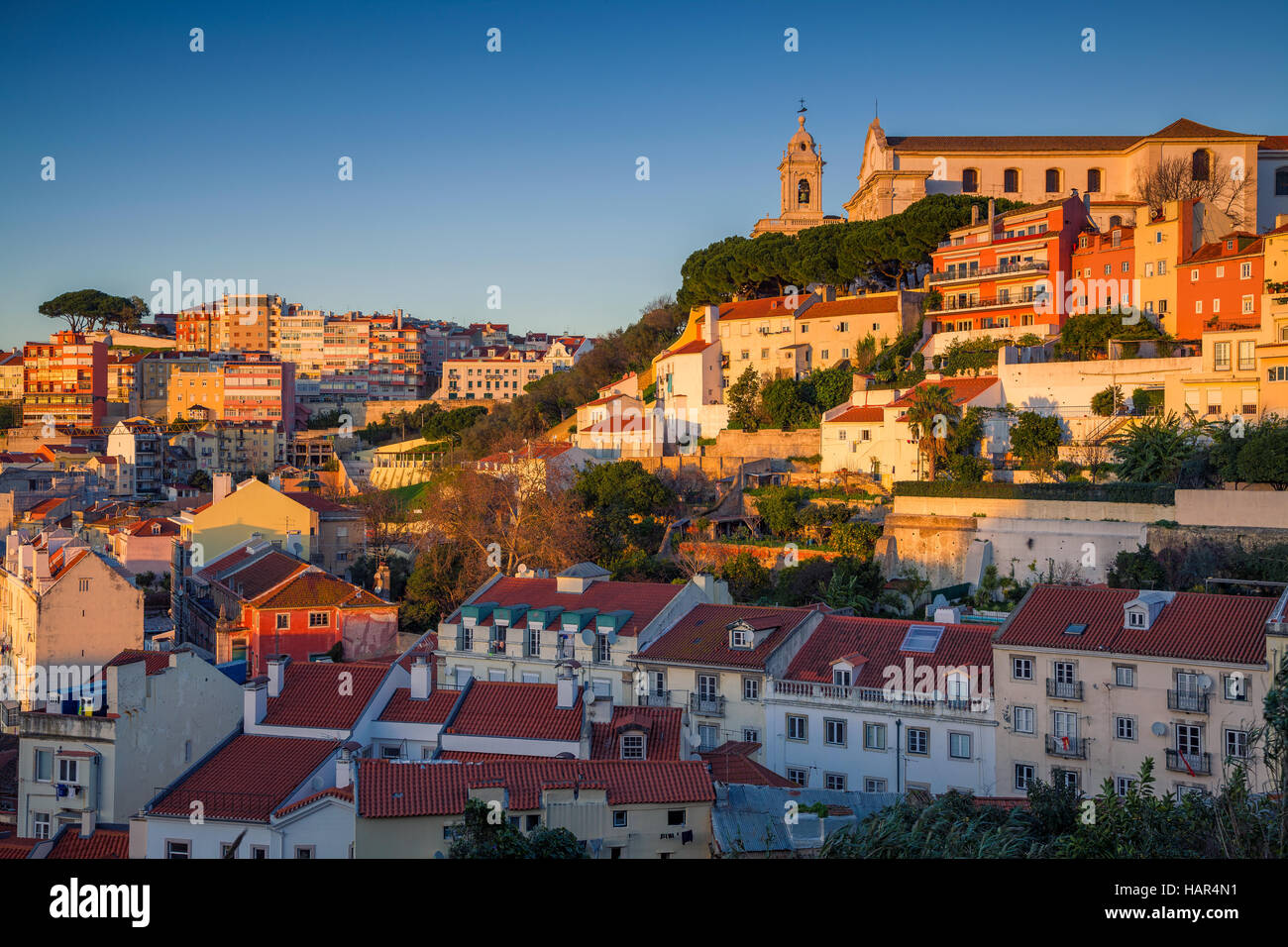Lisbon. Image of Lisbon, Portugal during golden hour. - Stock Image