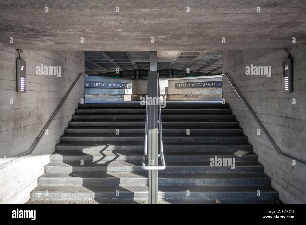 London, stairs with terrace restaurant directions indicators - Stock Image