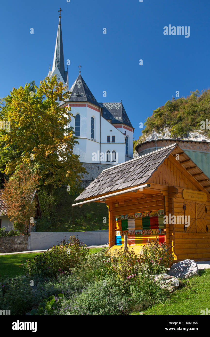 Beehive creating honey for medicinal purposes below St Martin Parish Church, Bled, Upper Carniola, Slovenia - Stock Image