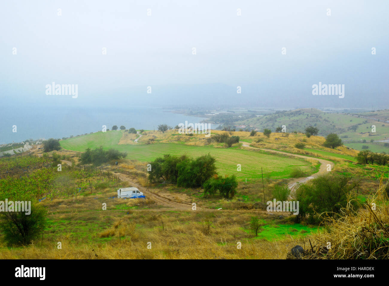 View of the Sea of Galilee from the Mount of Beatitudes, Northern Israel Stock Photo