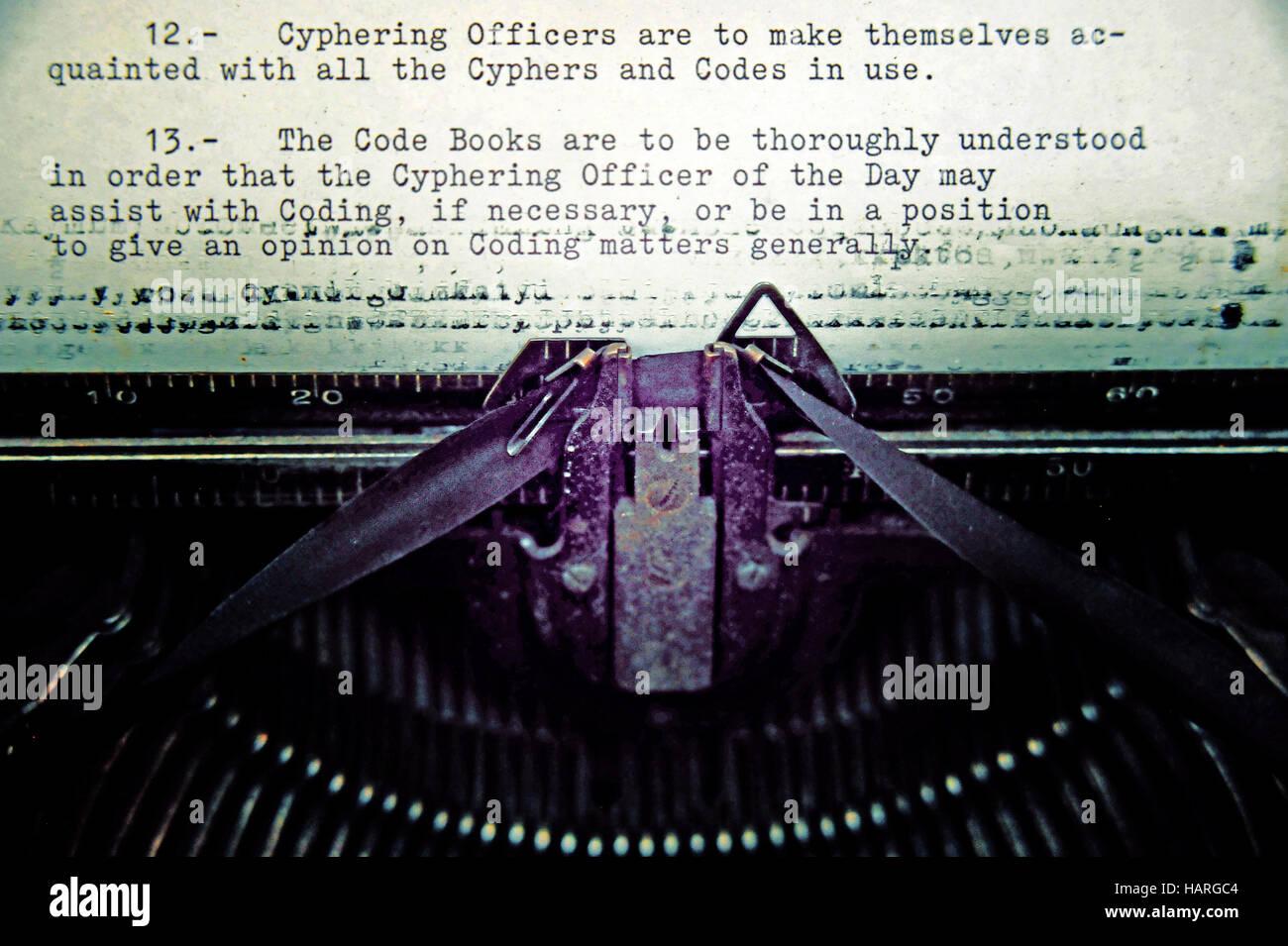 Historic typewriter from WW I, HMS Caroline, Belfast, Northern Ireland. Editorial use only. - Stock Image