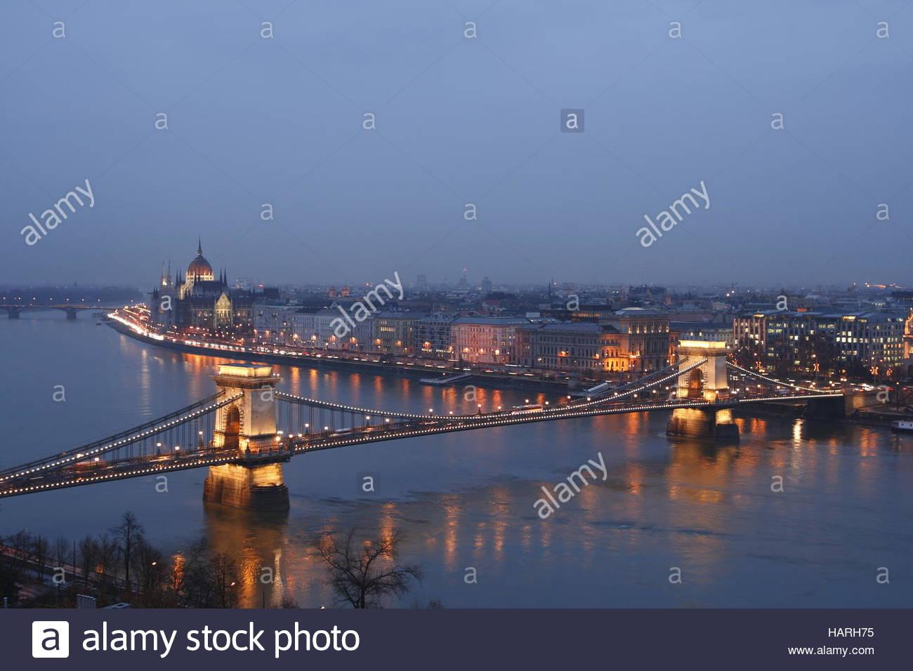 Budapest bei Nacht - Stock Image