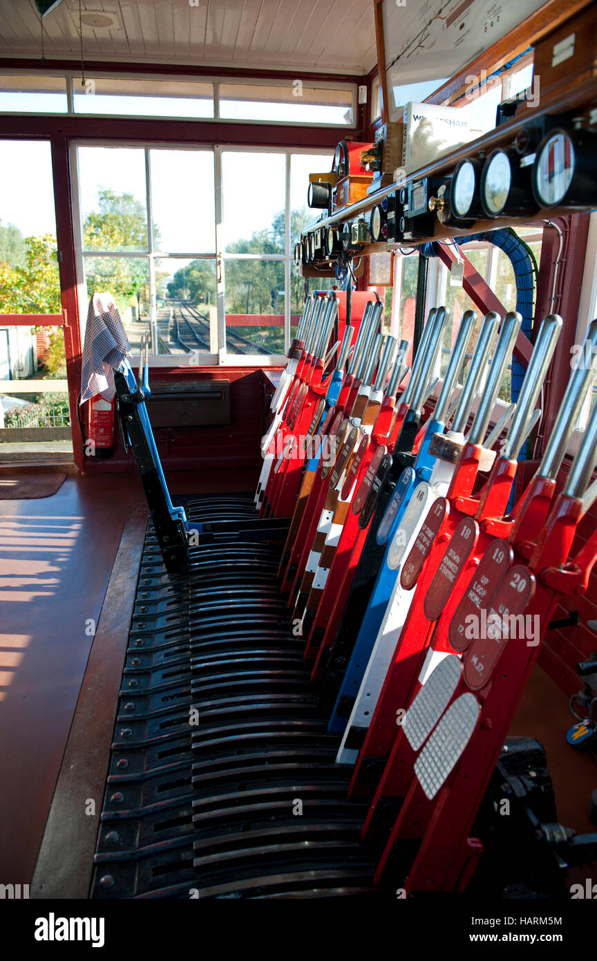 Mechanical signalling levers at Wittersham Road signalbox on the Kent and East Sussex Railway - Stock Image