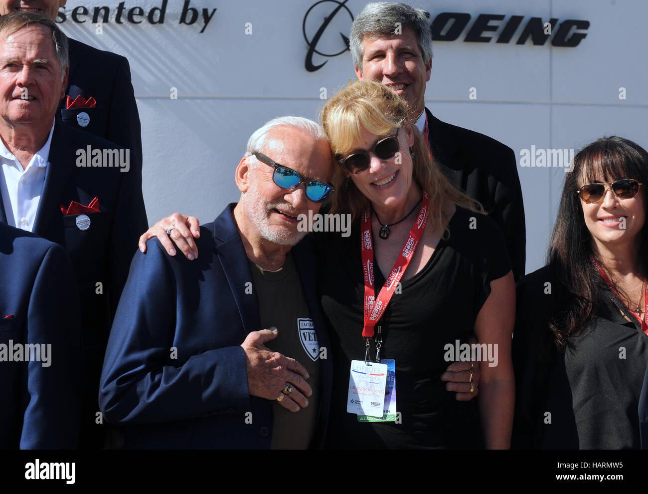 November 11, 2016 - Titusville, Florida, United States - Former astronaut Buzz Aldrin (center left), accompanied - Stock Image