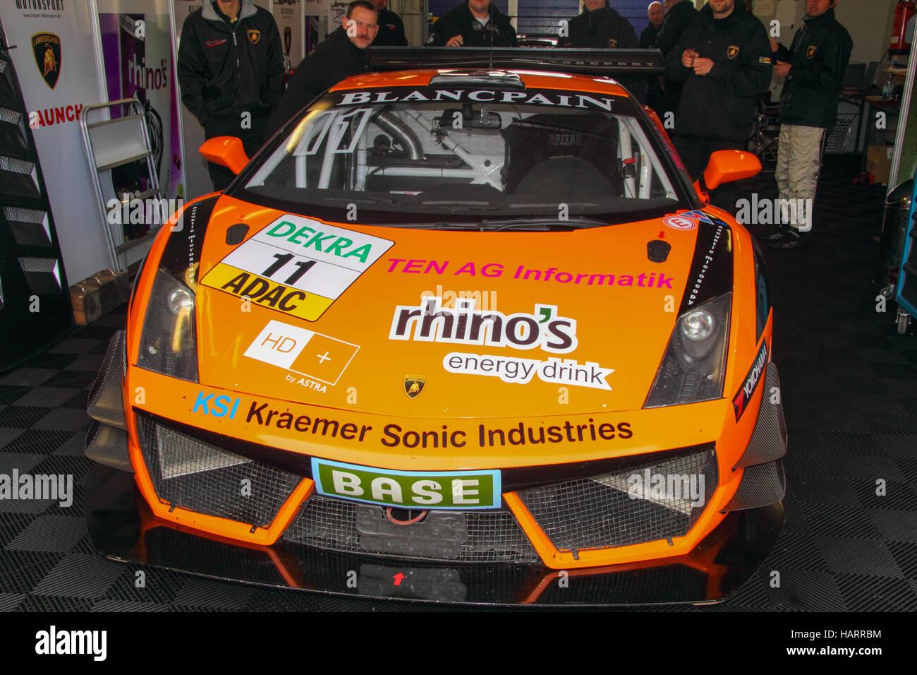 Lamborghini Gallardo in the box at ADAC GT Masters motorsport event - Stock Image