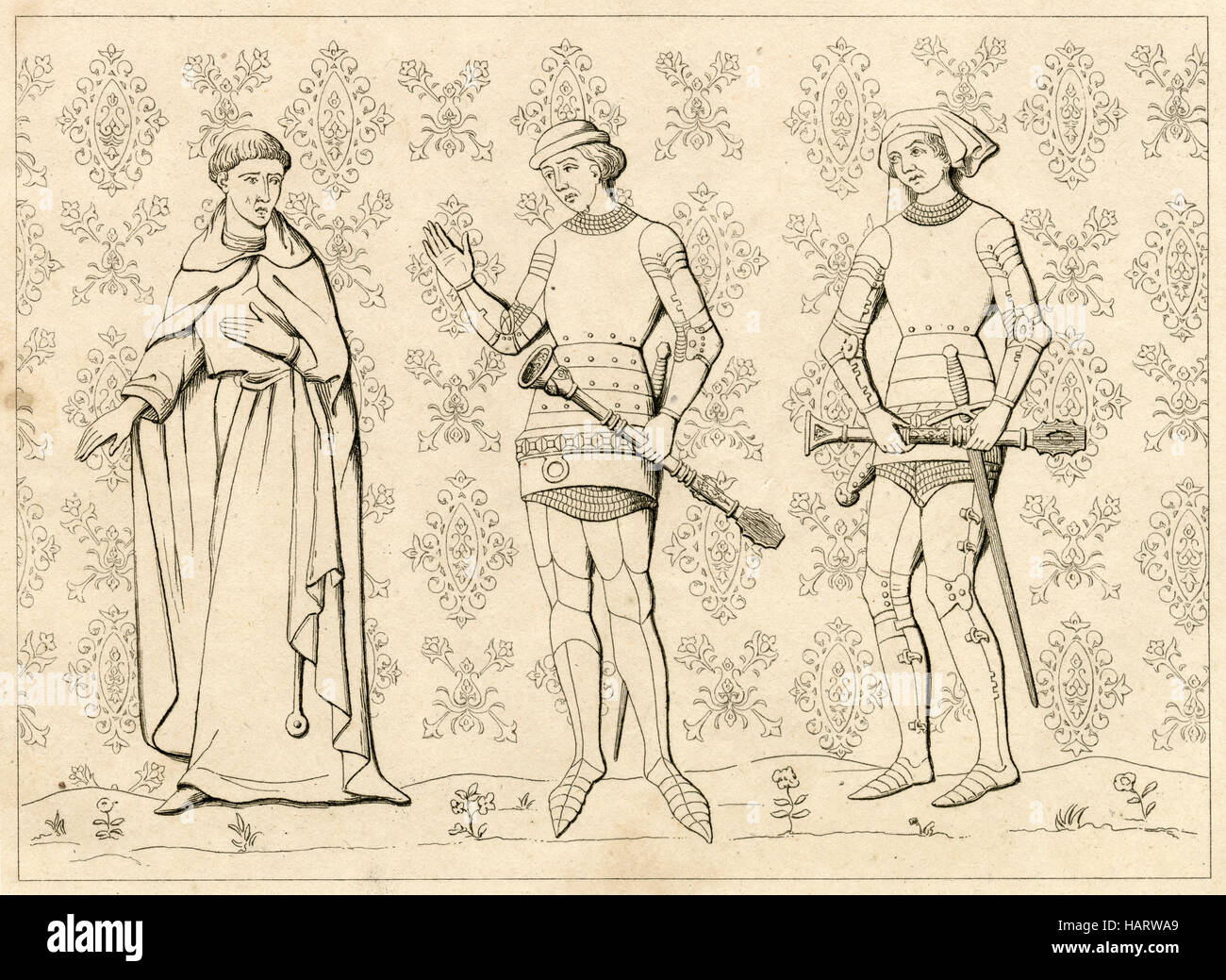 Antique engraving, circa 1860, depicting the 13th century uniforms of a French Religious man and Sergeant at Arms. - Stock Image