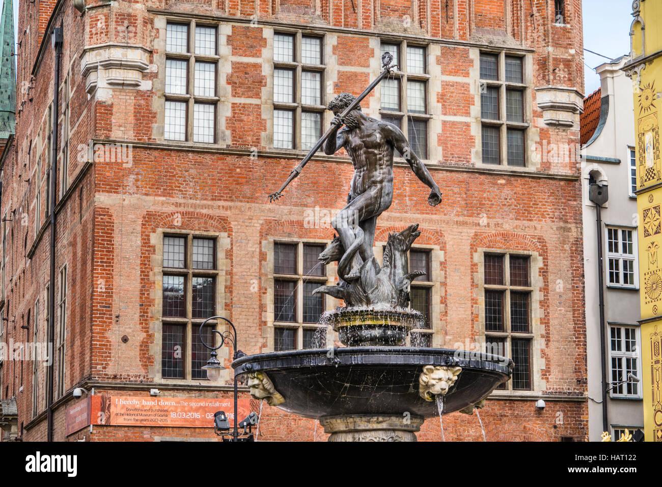 Poland, Pomerania, Gdansk (Danzig), Neptune's Fountain Statue at Long Market (Langer Markt/Dlugi Targ) against the Stock Photo