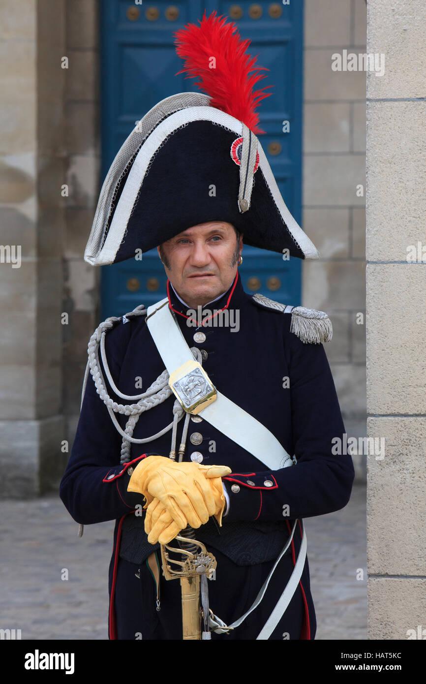 A captain of the Imperial Gendarmerie at the Chateau de Malmaison near Paris, France - Stock Image