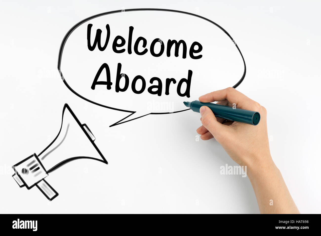 Welcome aboard. Megaphone and text on a white background - Stock Image