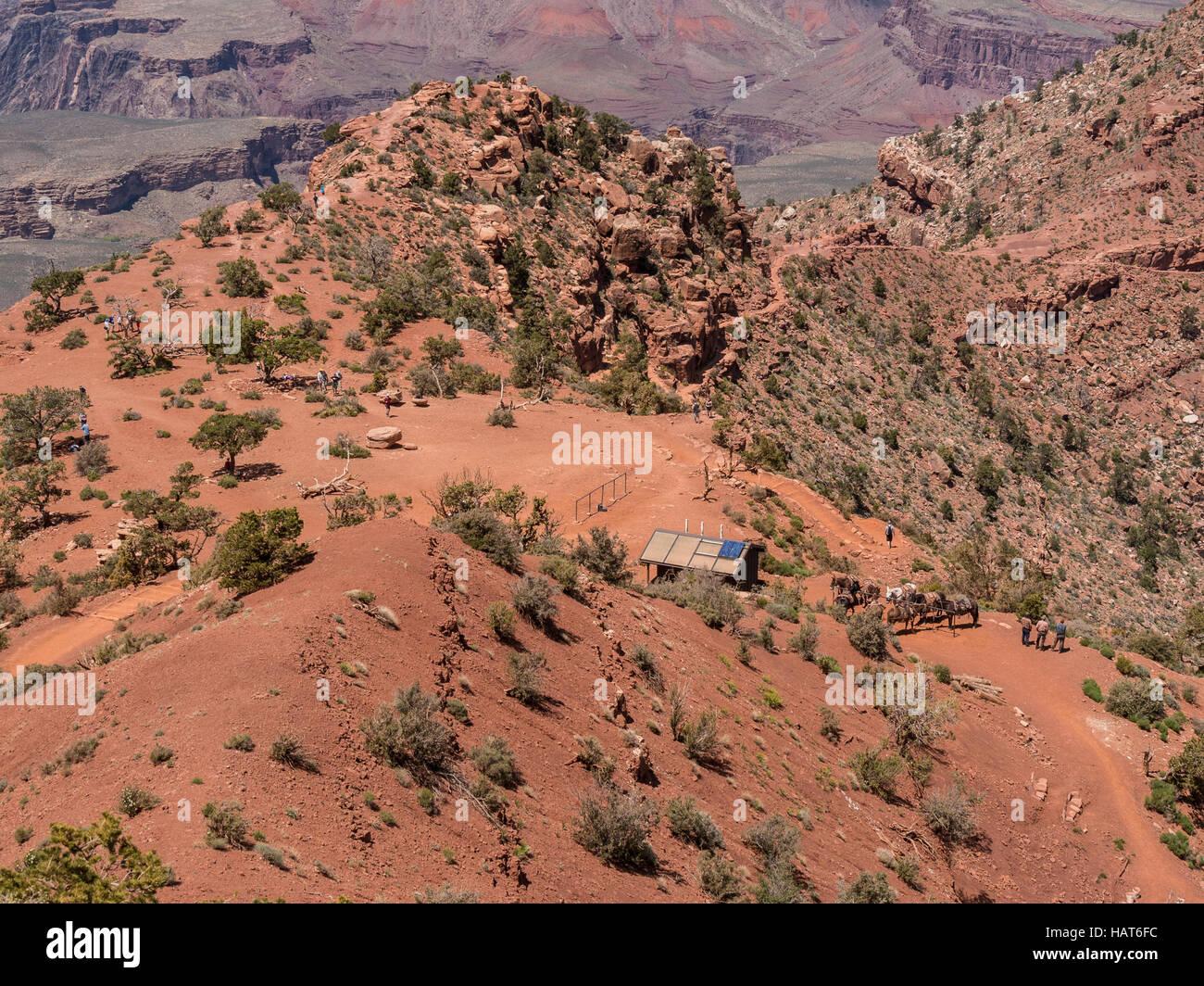 Looking down on Cedar Ridge, South Kaibab Trail, Grand Canyon South Rim, Arizona. - Stock Image