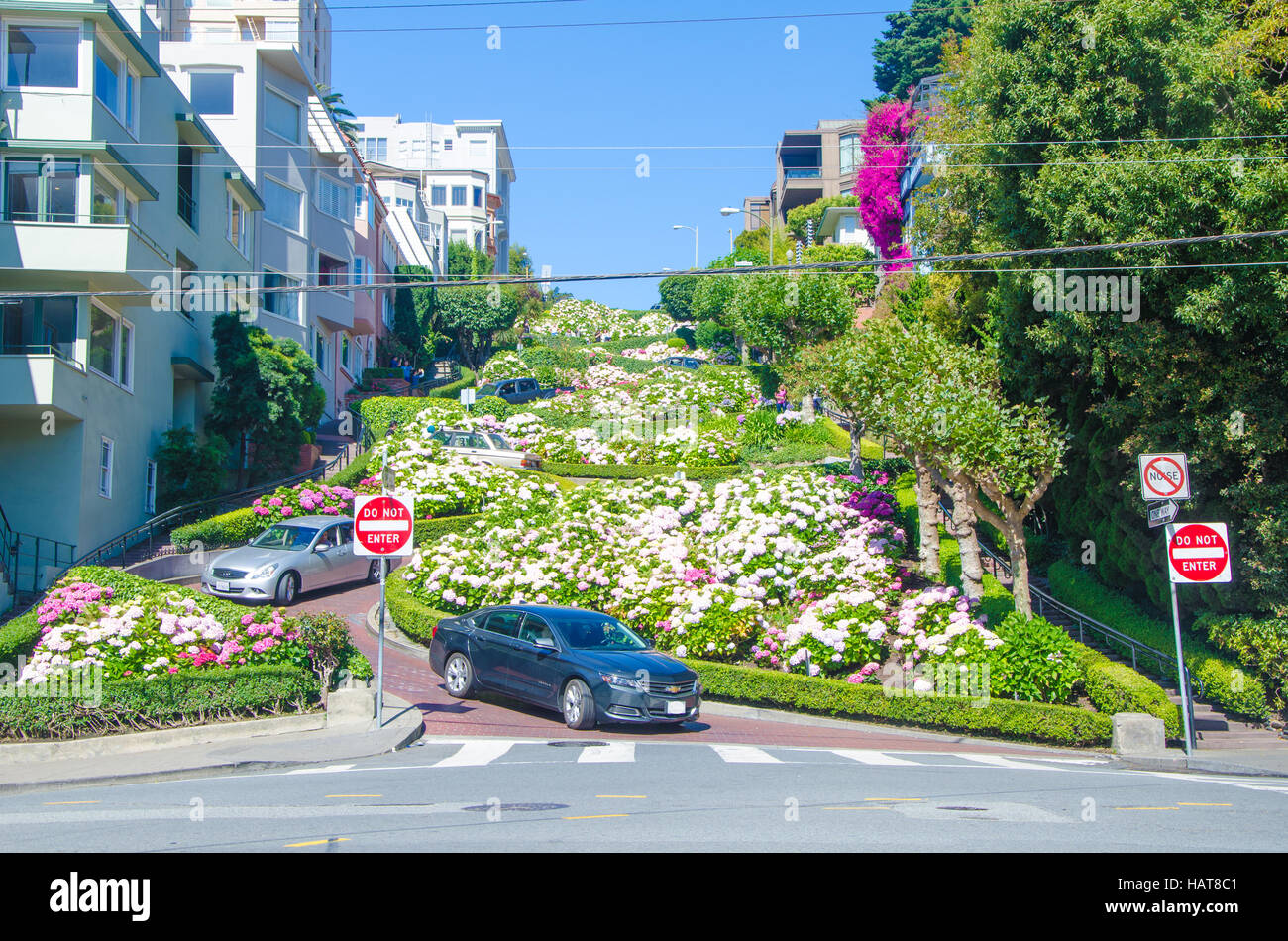 San Francisco, CA, USA - June 24, 2015: Lombard Street is an east-west street in San Francisco, California. The - Stock Image