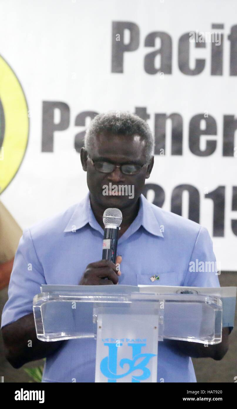 Solomon Islands Prime Minister Manasseh Sogavare speaks during the opening ceremony for the Pacific Partnership - Stock Image