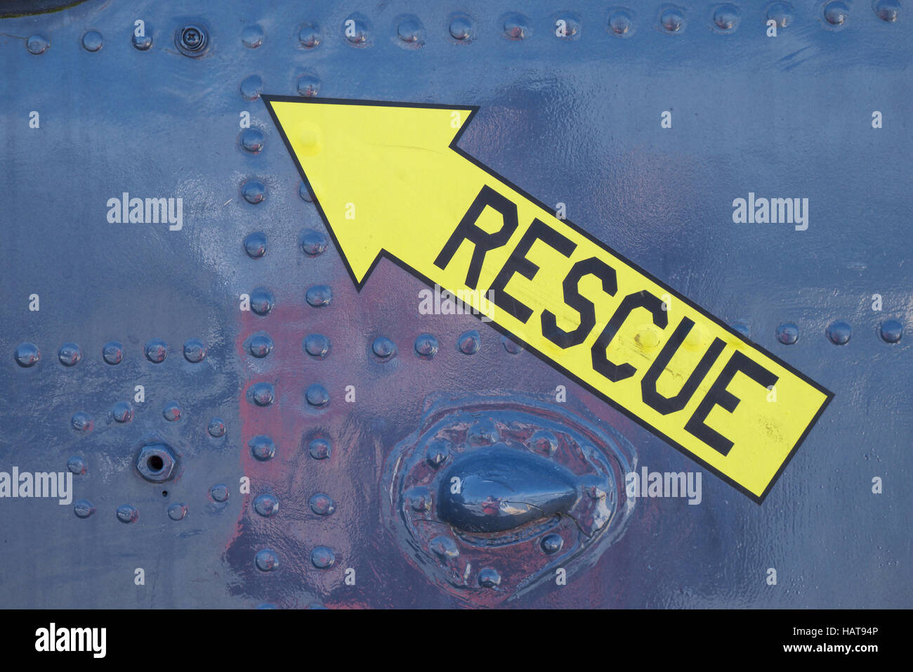 Rescue emergency marker on military aircraft at Patriots Point in Charleston, SC - Stock Image