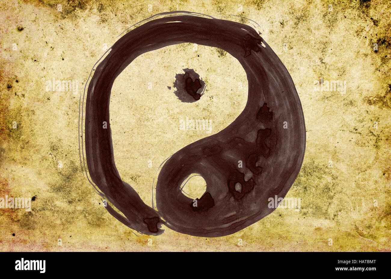 Yin und Yang - hand painted on background grunge - Stock Image
