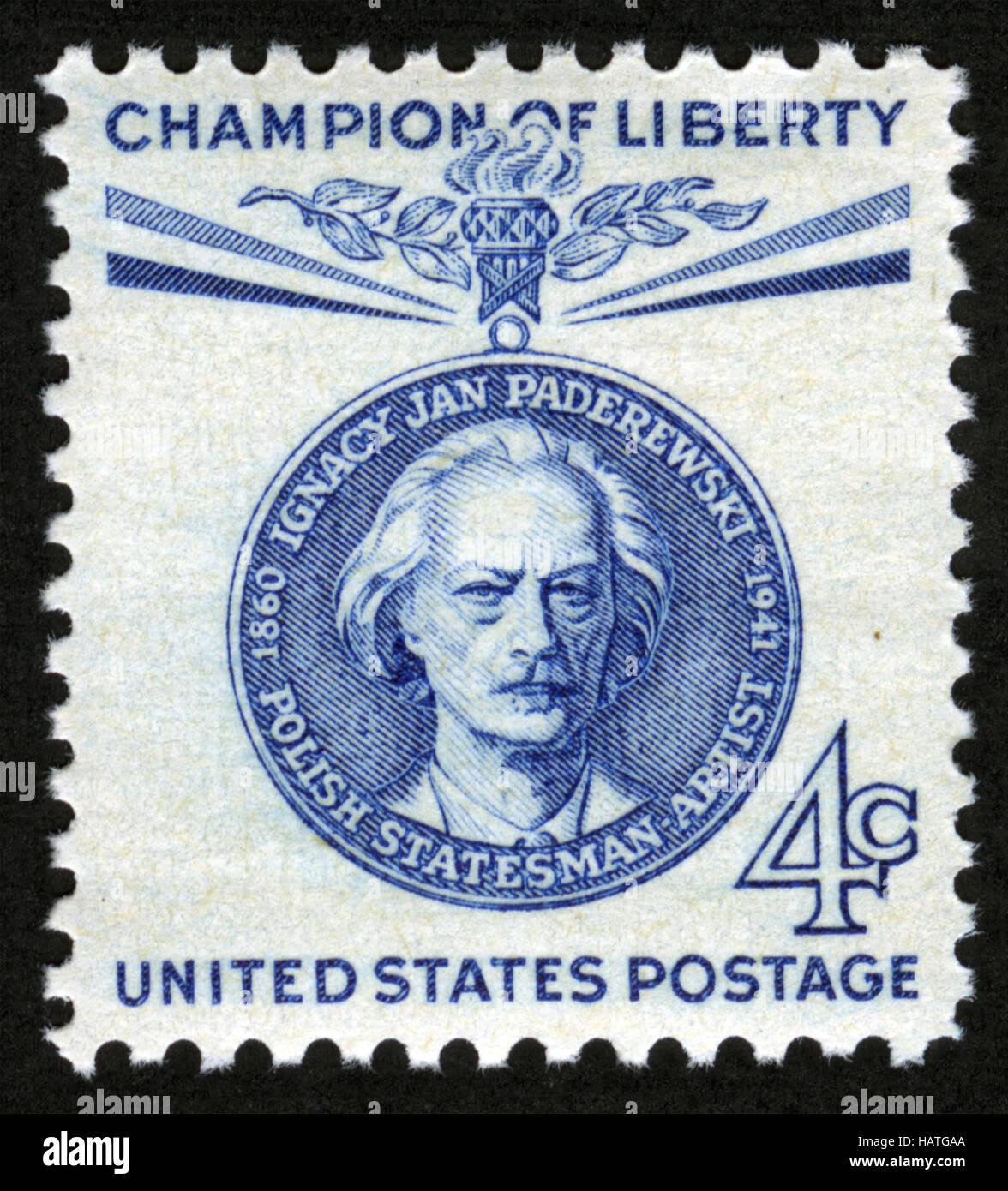 UScirca 1960 Postage Stamp Champion Liberty Ignacy Jan Paderewski Polish Statesman