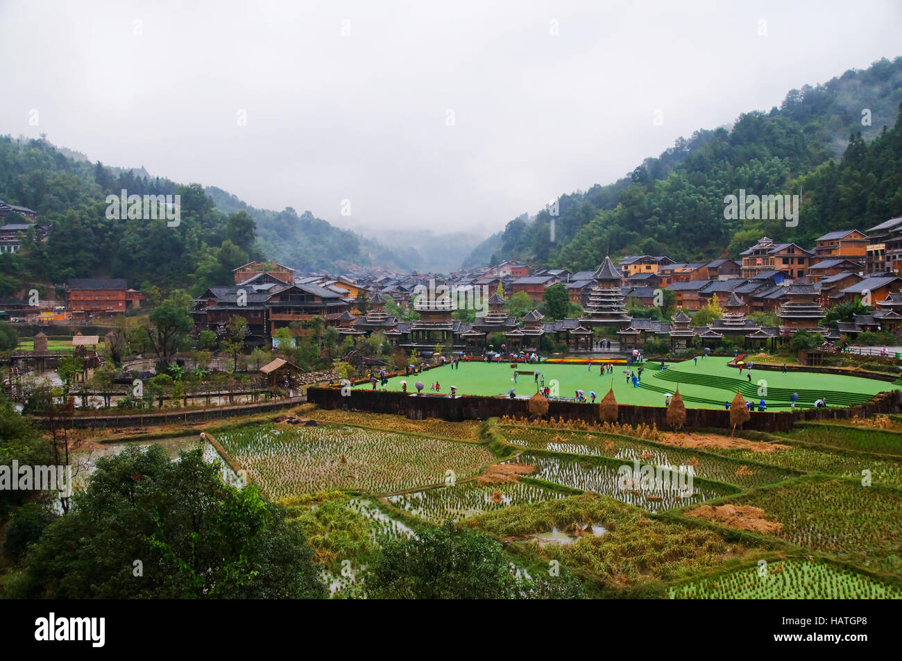 The Zhaoxing Dong Village in Guizhou Province of China is an interesting cultural destination. Stock Photo