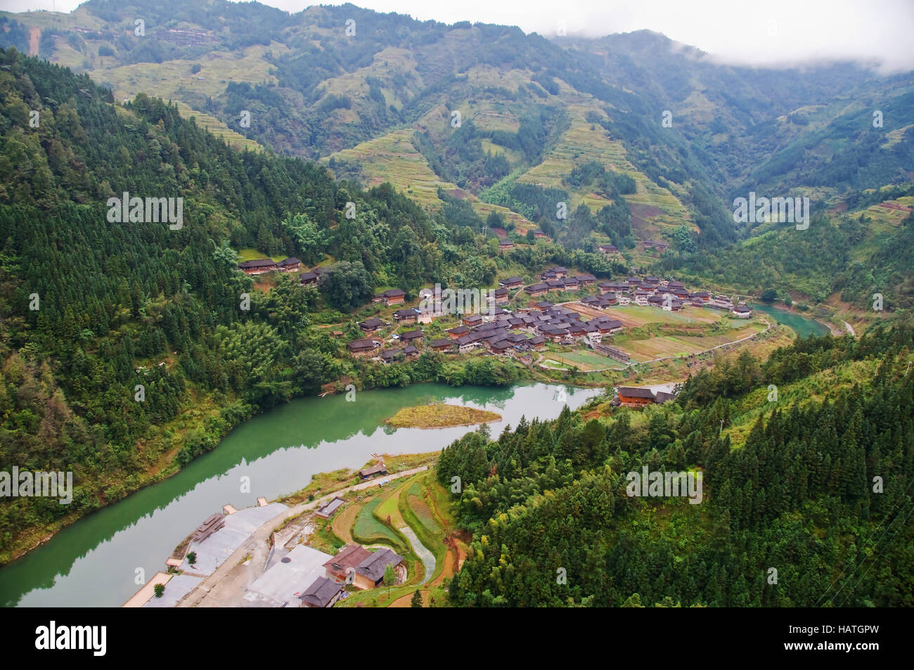 The Dong Village in Guizhou Province of China is an interesting cultural destination. Stock Photo