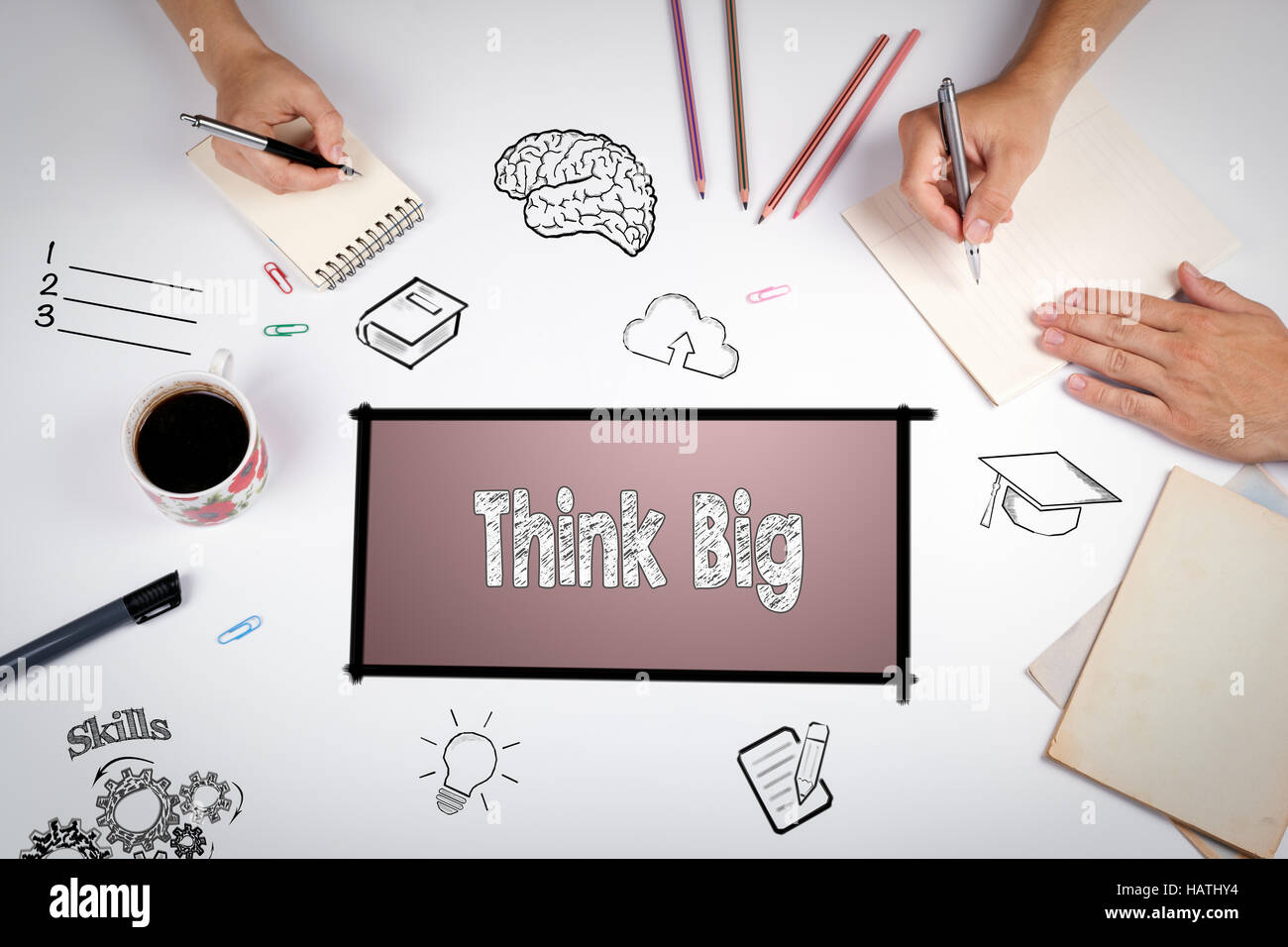Think Big Faith Attitude Inspiration Optimism Concept. The meeting at the white office table - Stock Image