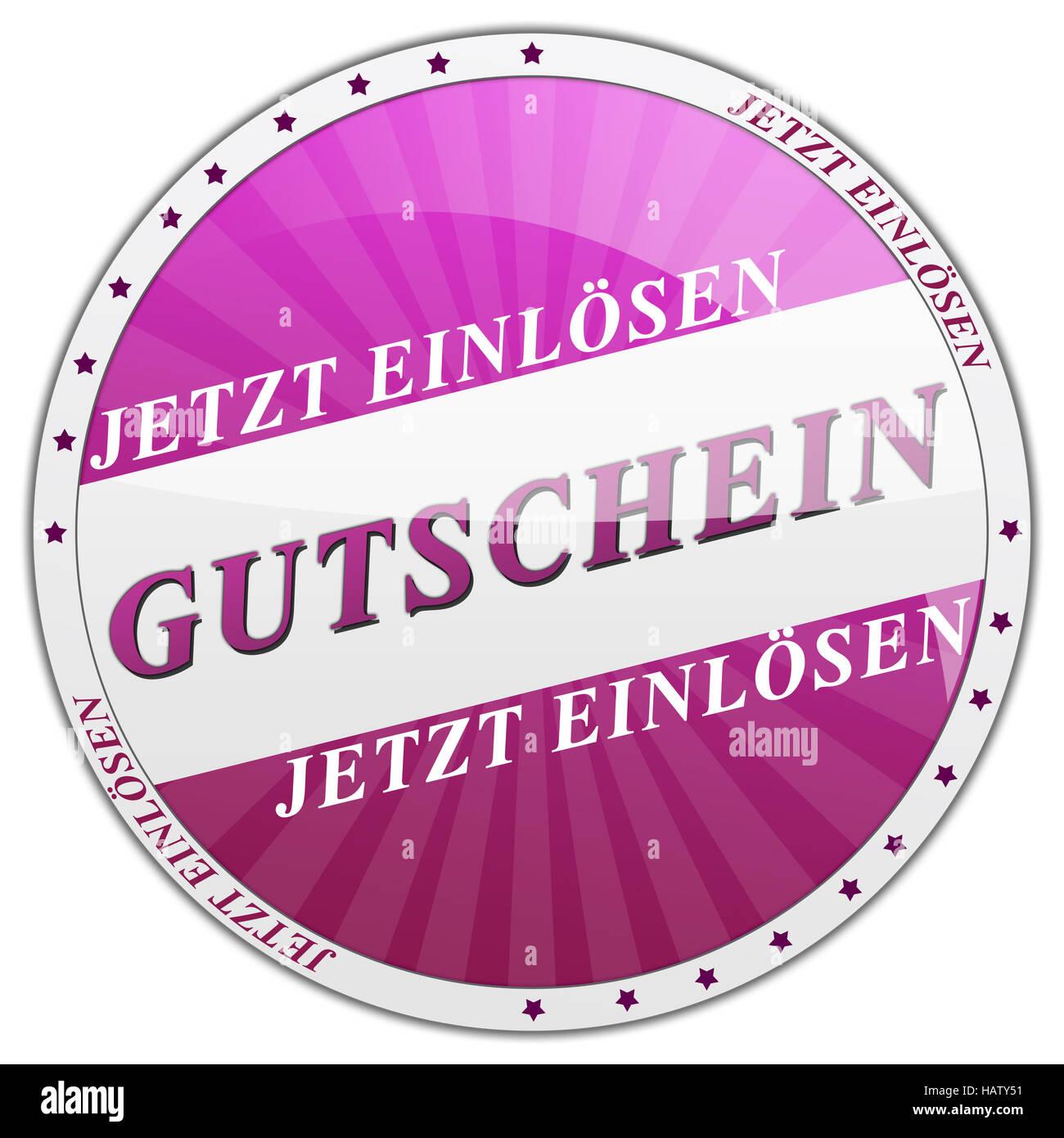 Button Gutschein lila - Stock Image