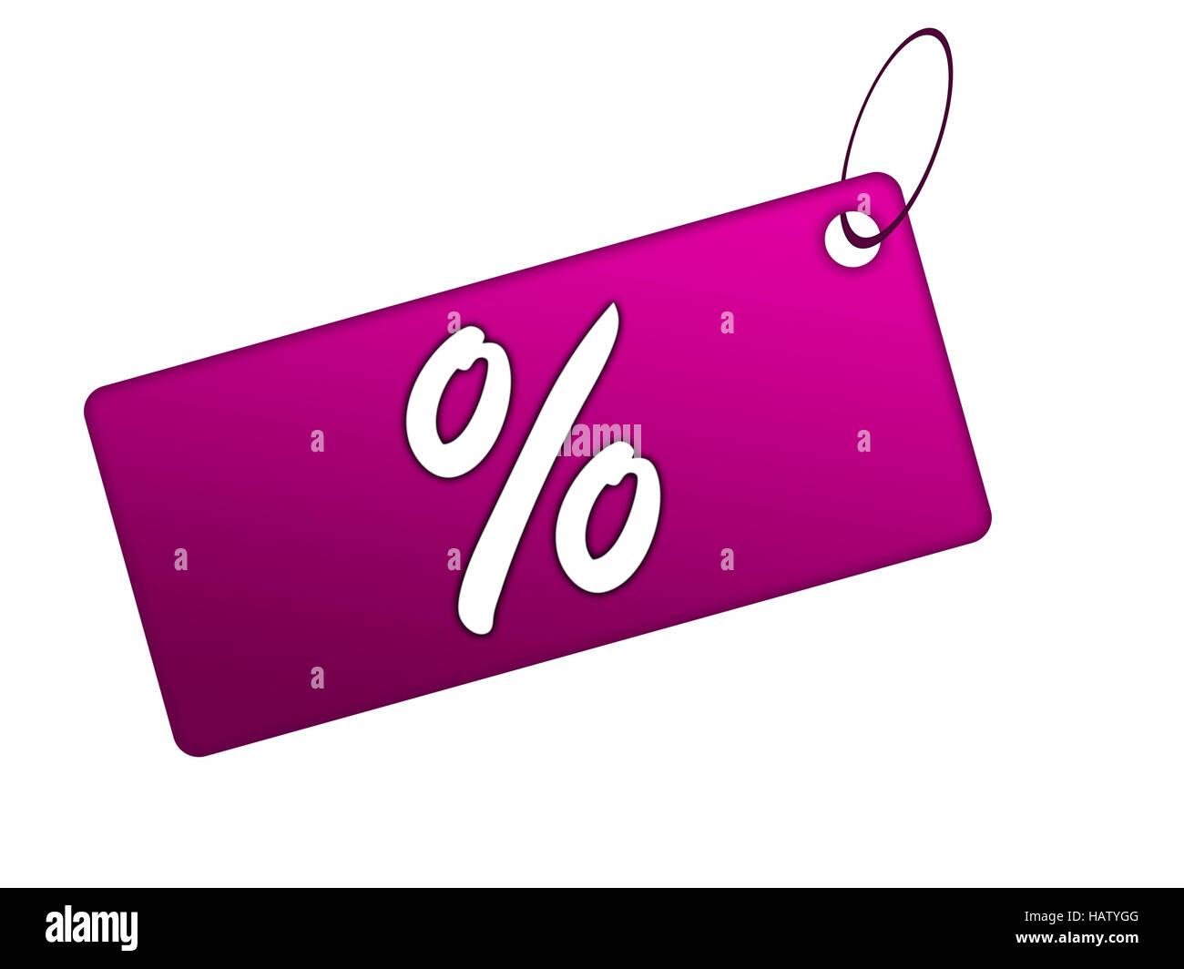 Prozentkarte lila - Stock Image