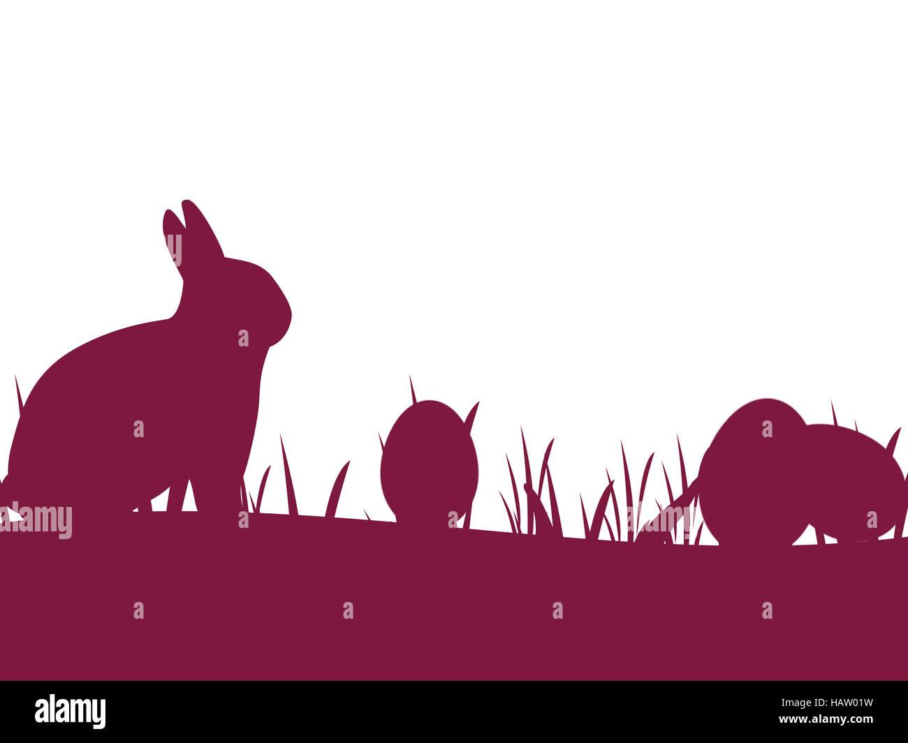 Ostersilhouette lila - Stock Image