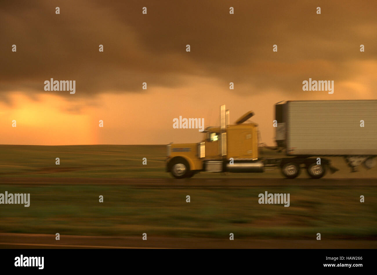Truck on I-70 as summer storm approaches - Stock Image