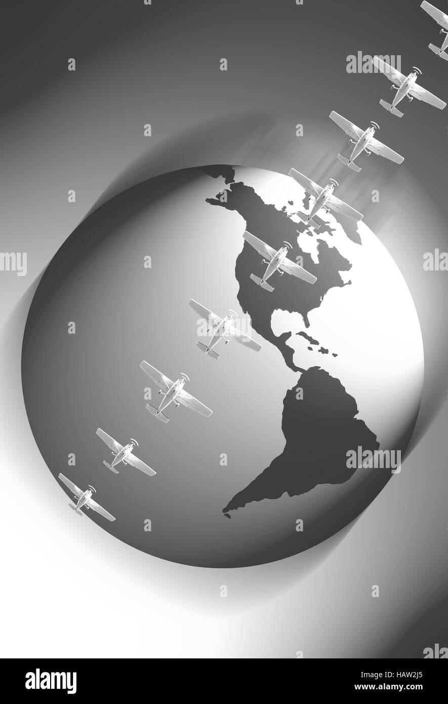 Airplanes and globe photo illustration, with Western Hemisphere - Stock Image