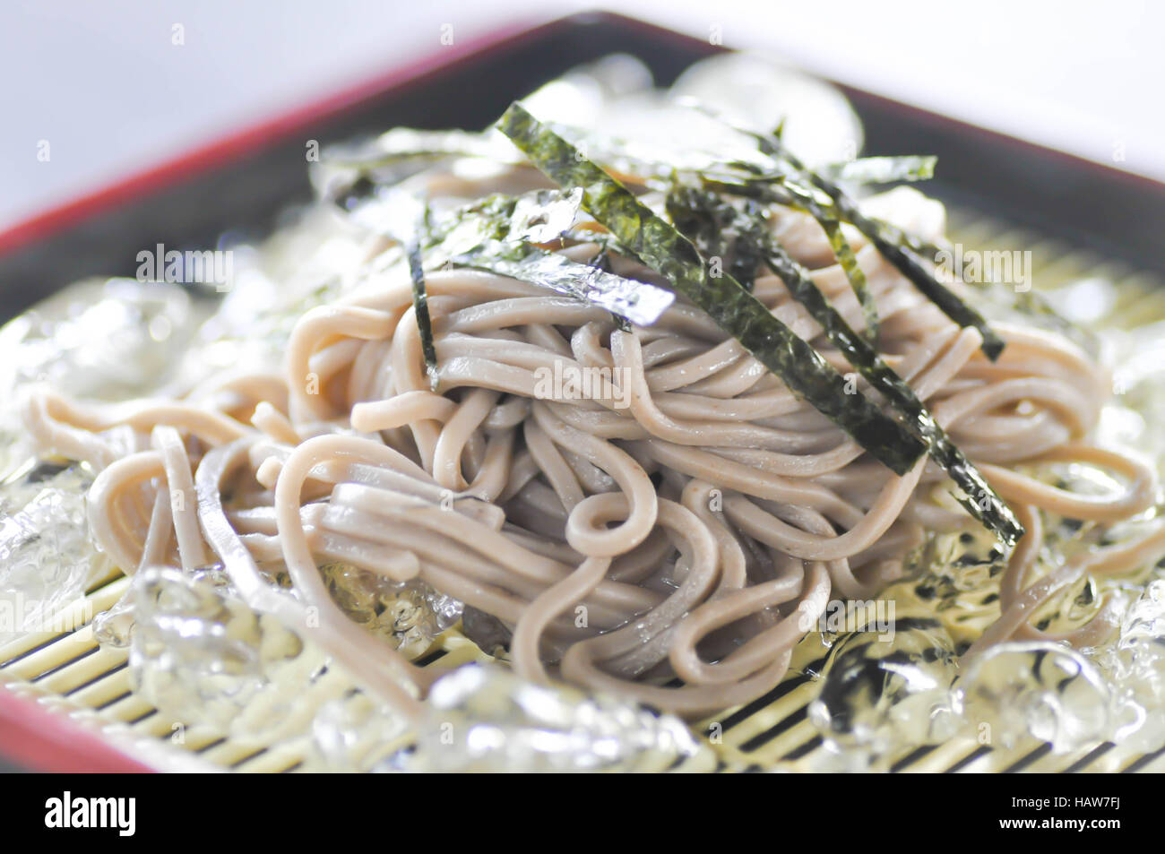 cold soba or cold noodle dish ,Japanese food - Stock Image