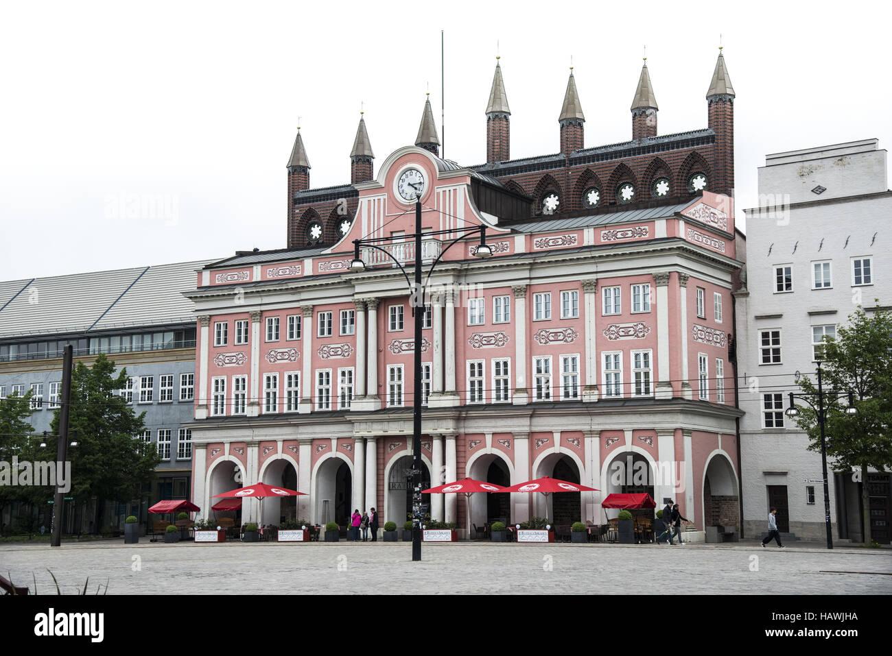 Town Hall, Rostock Stock Photo