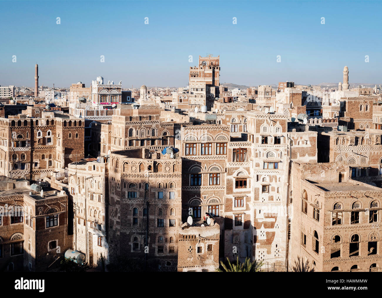 view of central sanaa  city old town skyline traditional buildings in yemen - Stock Image