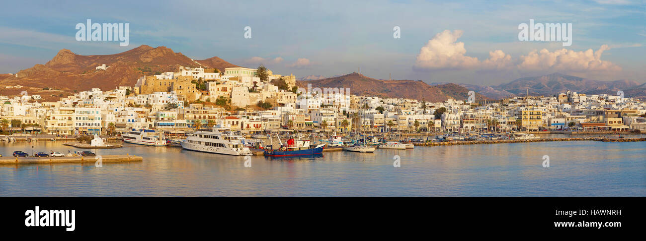 CHORA, GREECE - OCTOBER 7, 2015: The panorama of town Chora (Hora) on the Naxos island at evening light in the Aegean - Stock Image