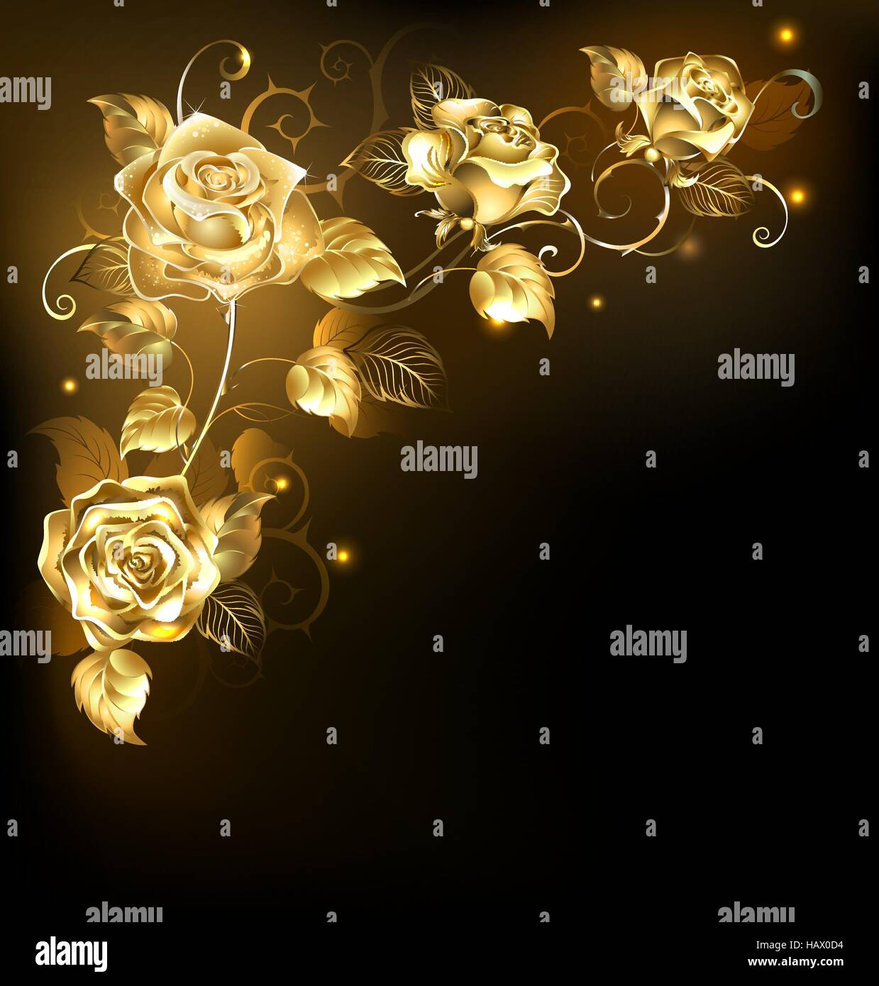 Twisted gold roses on a black background. Gold rose. - Stock Vector