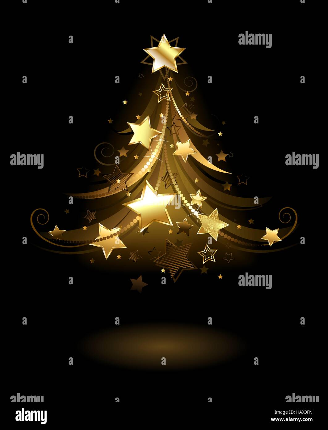 artistically painted golden spruce, decorated with gold stars on a black background. - Stock Vector