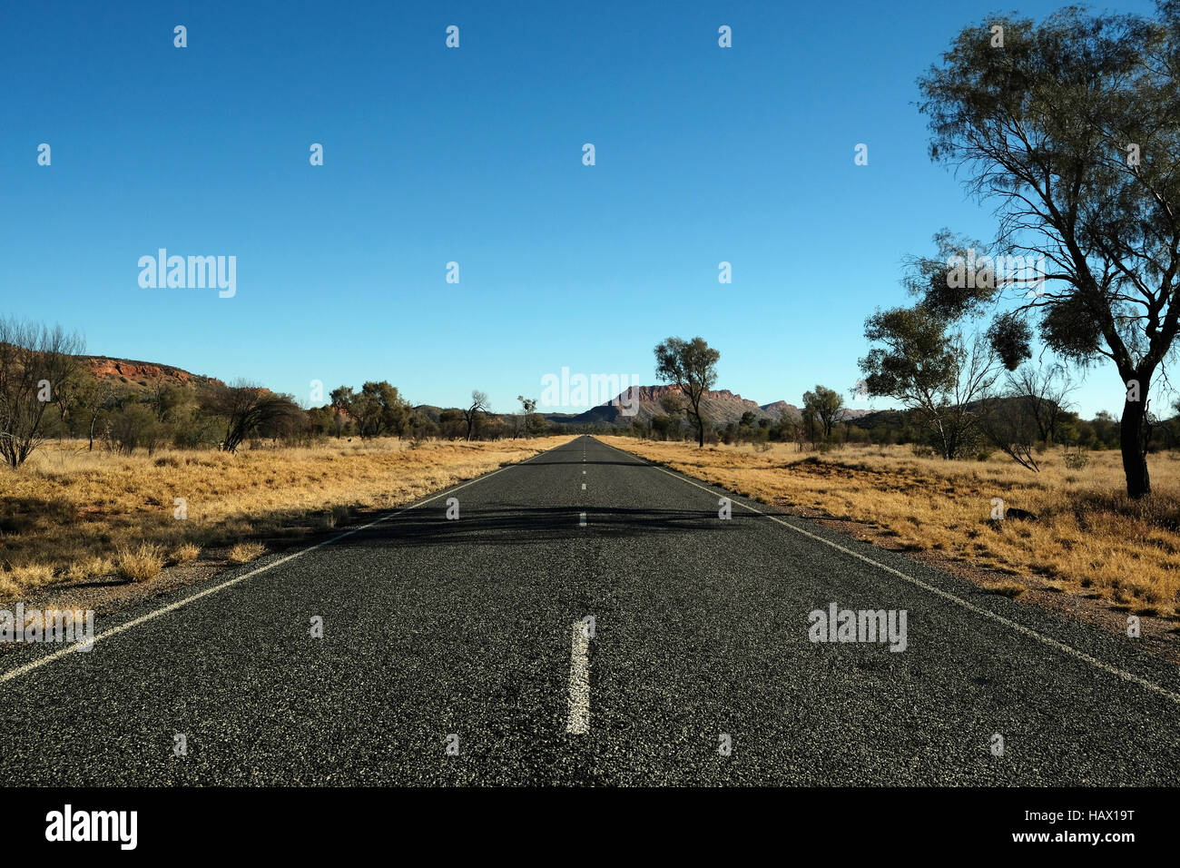 Larapinta Drive is a road in the outback of Alice Springs, Northern Territory, Central Australia - Stock Image