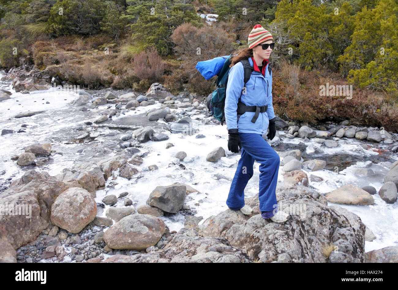 Woman hiker crossing a frozen stream in Tongariro National Park rain forest  in the North Island of New Zealand. - Stock Image