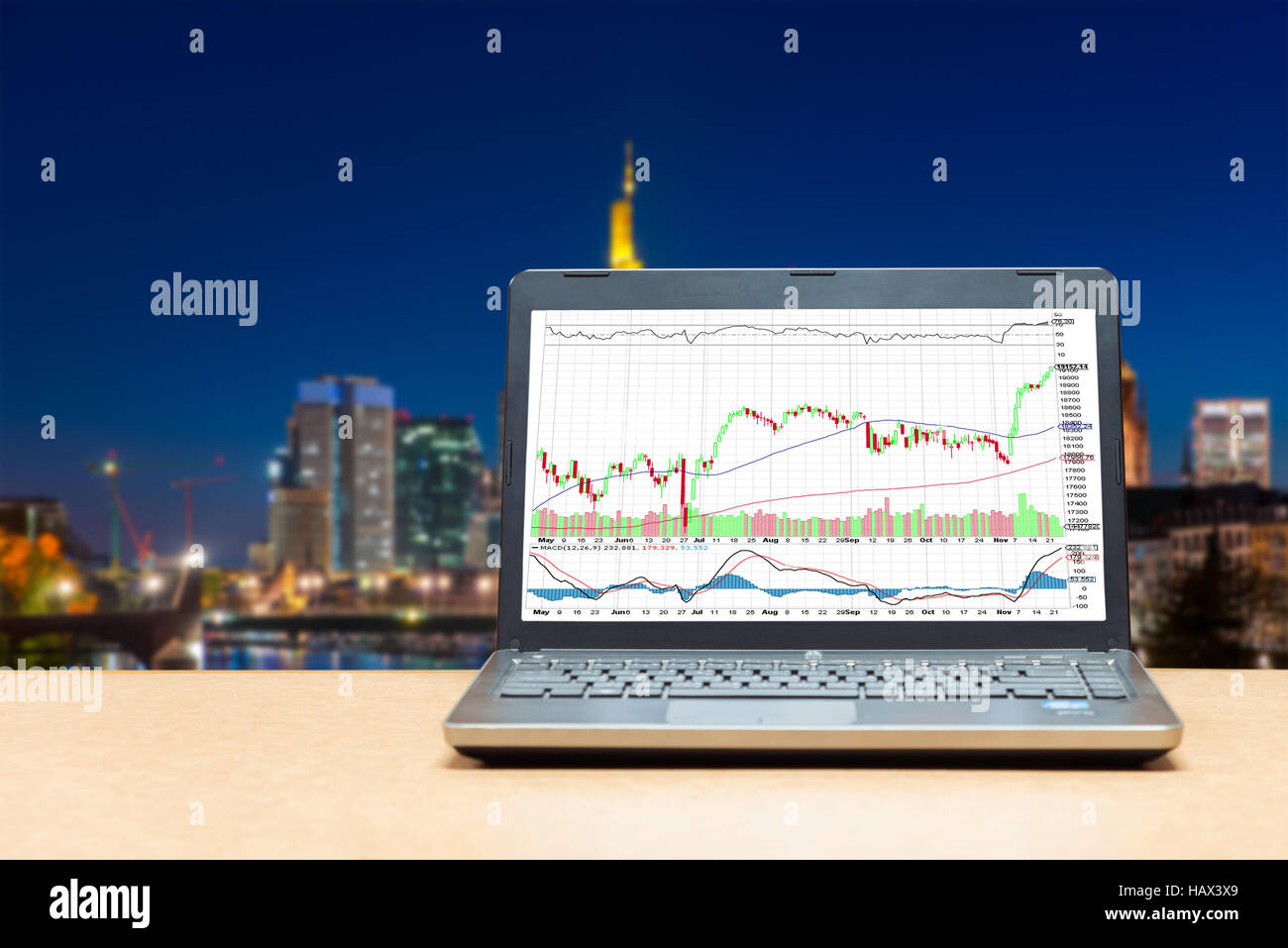 Business laptop on wood table showing business trading graph with cityscape building in background, Business trading - Stock Image