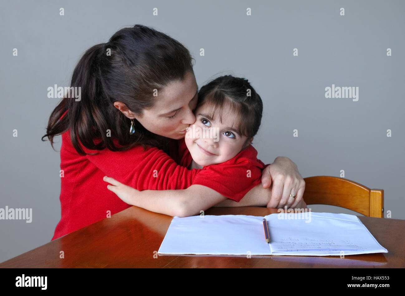 Mother Woman Age 30 35 Helping Her Daughter Girl Age 6 7 With
