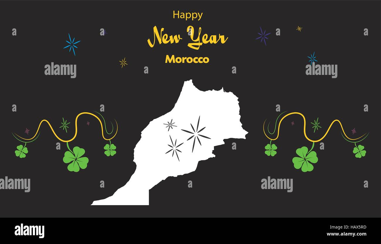 happy new year illustration theme with map of morocco