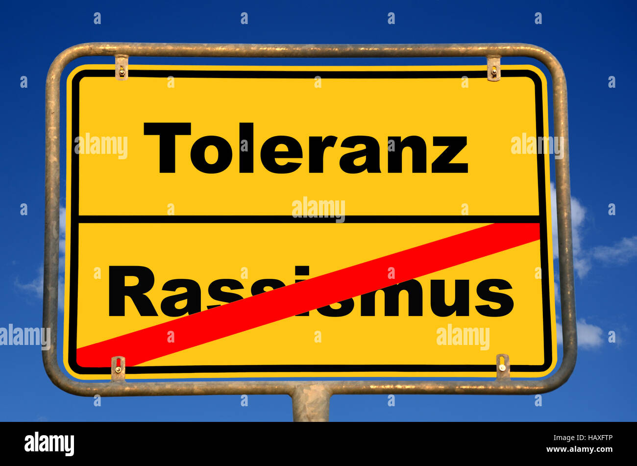 Sign. Racism - Tolerance - Stock Image