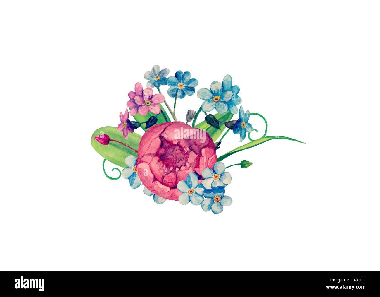 Watercolor Bouquet Vector Handpainted Flowers Clip Art Stock Vector