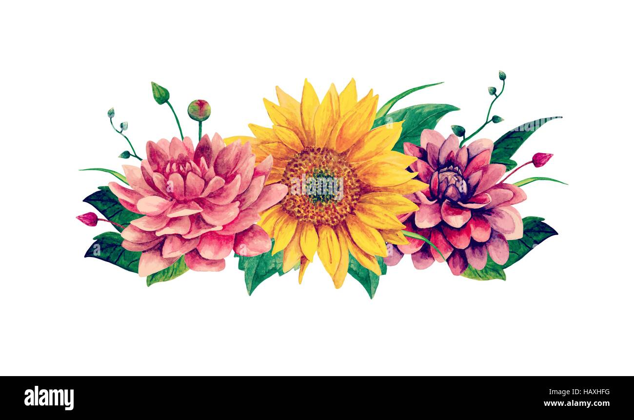 Watercolor Flowers Vector Floral Bouquet Clip Art