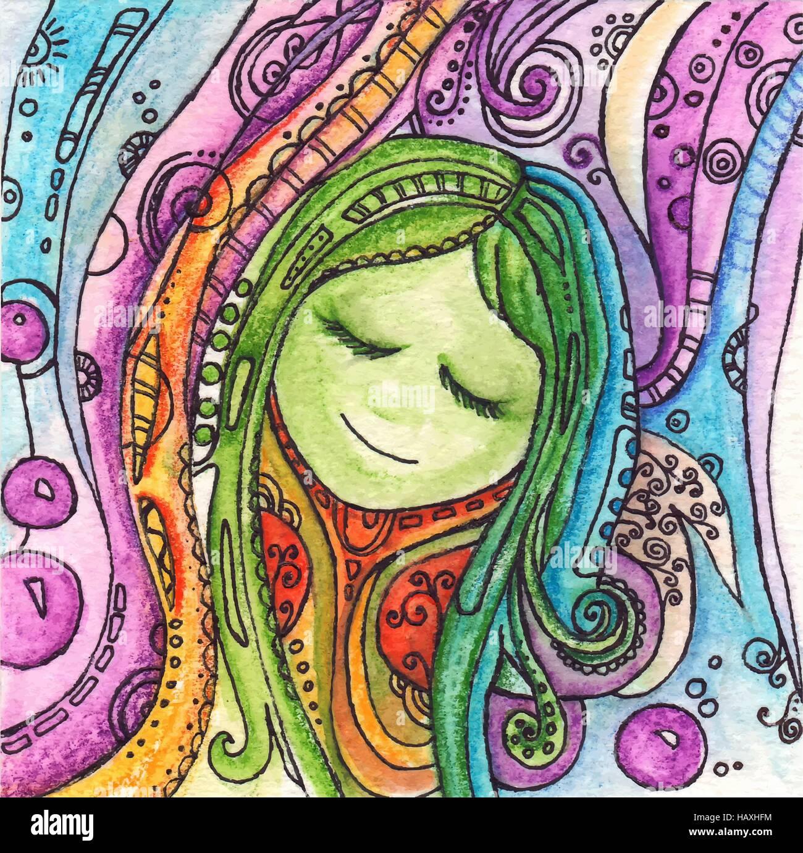 Watercolor wonderland fairy tale illustration. Abstract cartoon art vector - Stock Vector