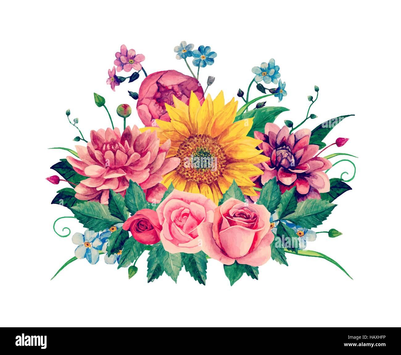 watercolor purple flowers vector clipart stock photos watercolor