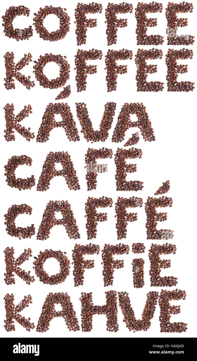 Word coffee in many languages made with coffee beans. - Stock Image