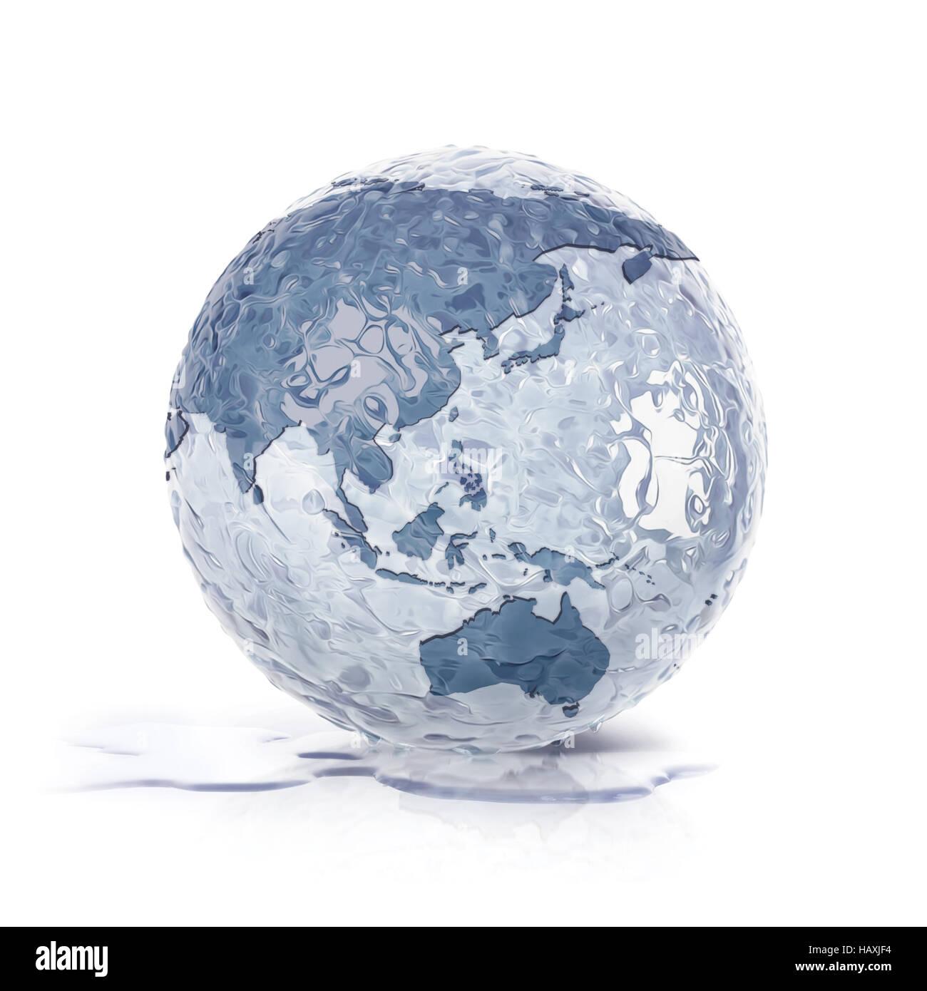 ice globe 3d illustration asia and australia map on white background