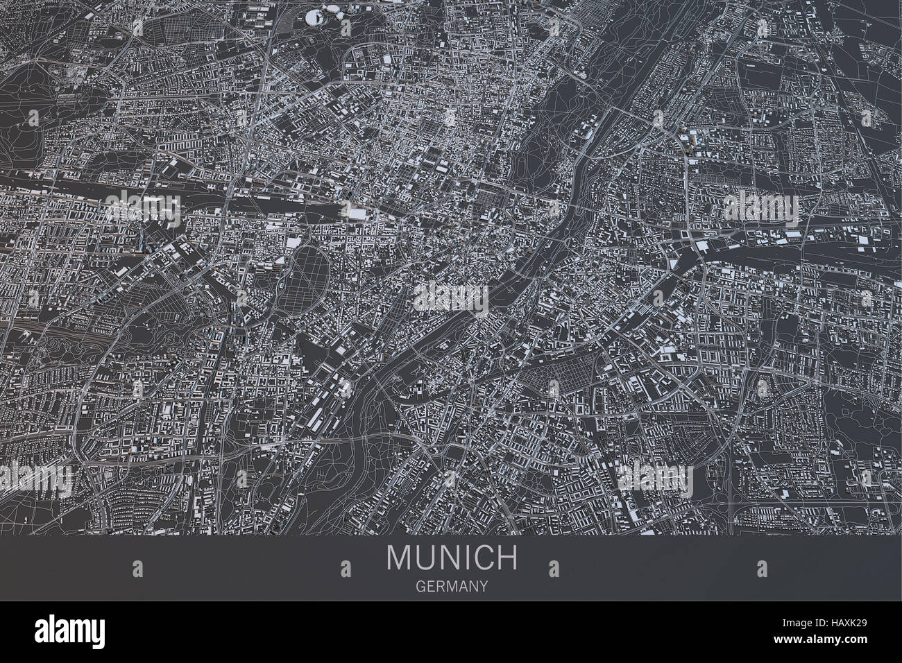 Map of Munich of Bavaria satellite view city Germany 3d