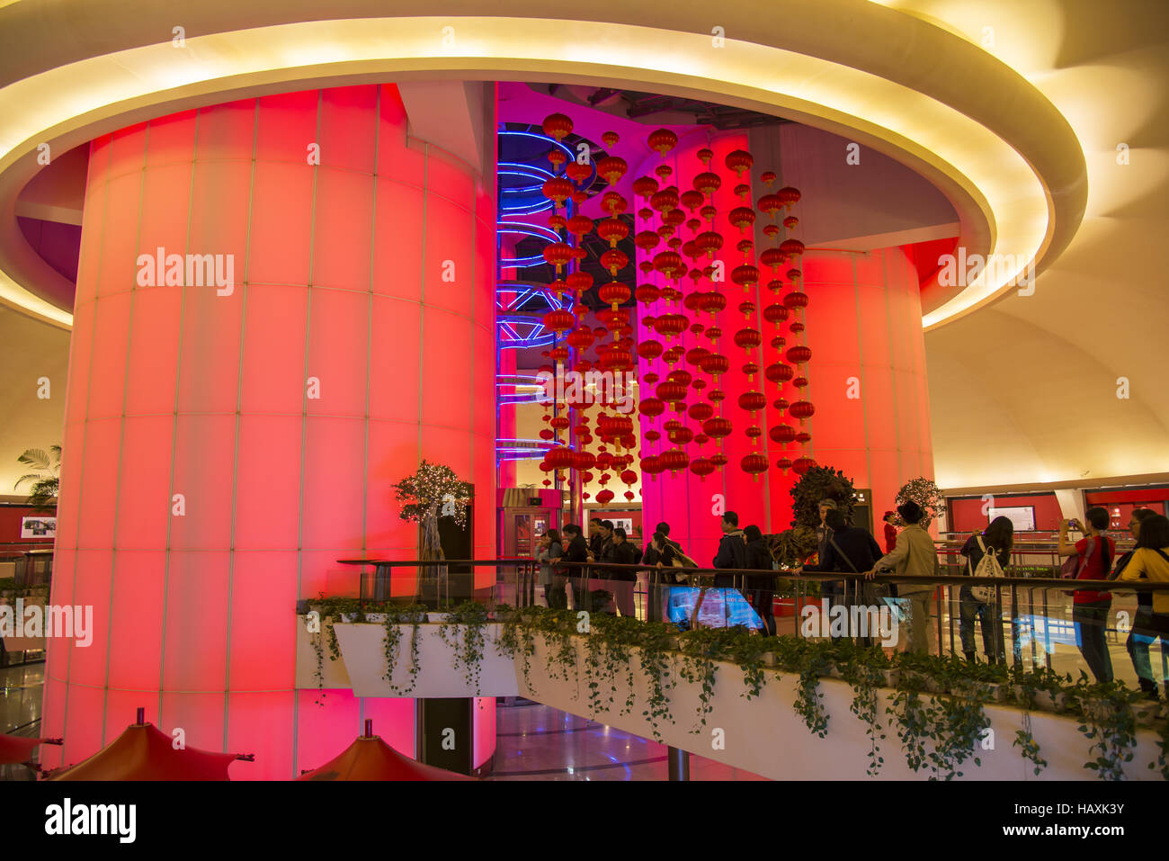 lift in Oriental Peal Tower, Shanghai Stock Photo