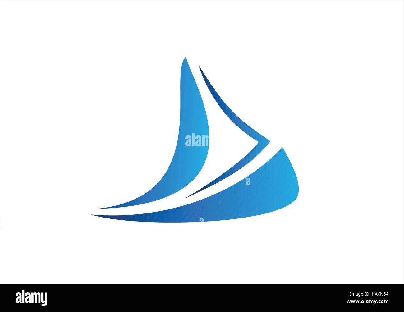 sailboat logo, business boat cruise ocean vector icon, sea wave travel boating design symbol, blue ship boat logo - Stock Image